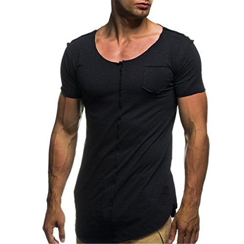 ❉Homme T-Shirts Tops à Manches Courtes Chemise Manches Courtes Sport Fitness Exercice Running t-Shirt Sport Musculation Tee-Shirt Col O Slim Fit Coupe Mince en Coton GongzhuMM (L, Sexy Noir)