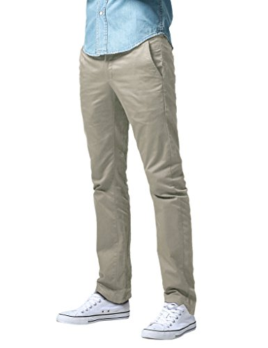Match Pantalons Casual Slim Straight pour Homme #8036(8036 Abricot(Apricot),40(FR 50))