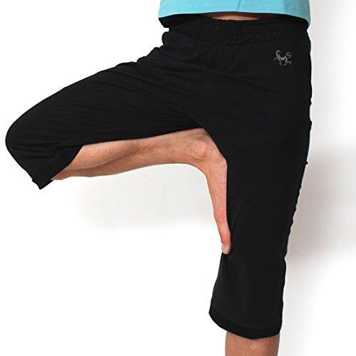Prancing Leopard Unisex Yoga Surfer Capri Hose CANTABRIA aus Bio Baumwolle Fuer Herren und Damen Fitness Lang Shorts - L - Charcoal Black