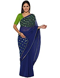 Shiya Women's Georgette Saree With Blouse Piece (Blue)