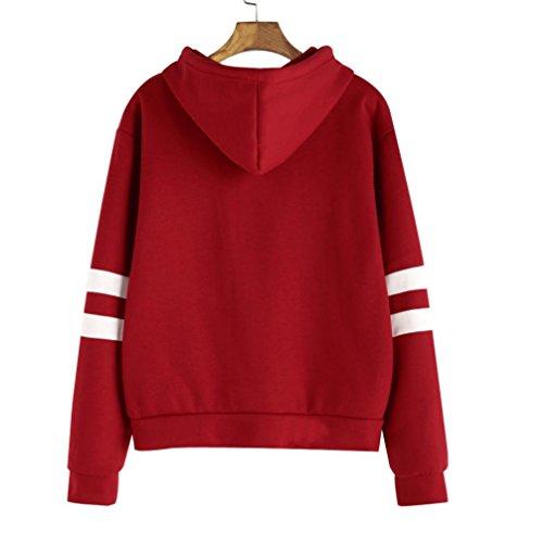 FRYS sweat femme a capuche fille Sport pull femme hiver chic mode manteau femme grande taille vetement femme pas cher fashion chemisier Fille blouse femme Printemps Rouge
