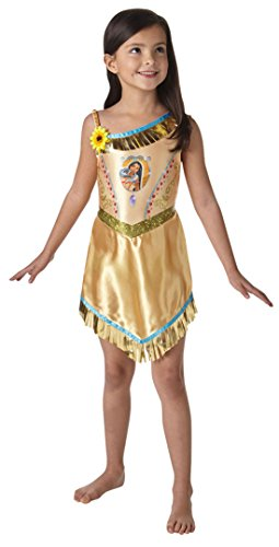 erdbeerloft - Mädchen Kostüm Karneval Prinzessin Fairytale Pocahontas, Gold, Größe 122-128, 7-8 Jahre