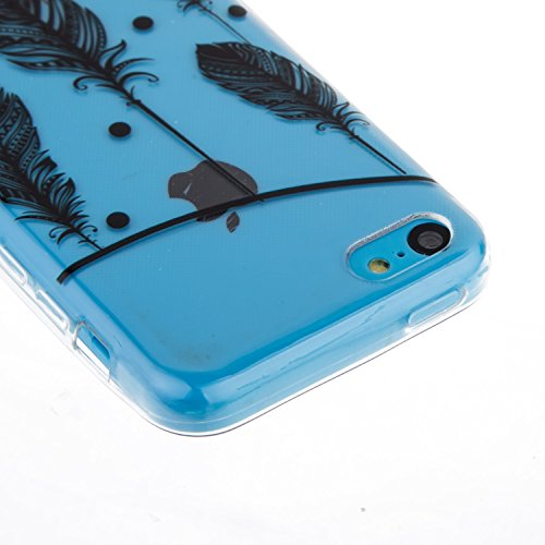 CaseHome iPhone 5C Durchsichtig Silikon TPU Hülle Elegantes Stilvoll Hübsches Muster Druckte Entwurf (Mit freiem HD Schirm-Schutz) Gummi Silikongel Retro Klassiker Stoßstange Weicher Stoßdämpfer-ultra Fliegende Federn