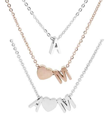 Personalisierte Buchstaben Damen Halskette aus Edelstahl Namenskette | Karabinerverschluss 45cm + 5cm Extra | Alphabet A-Z | Klassischer schmuck Herz Kette als Geschenk