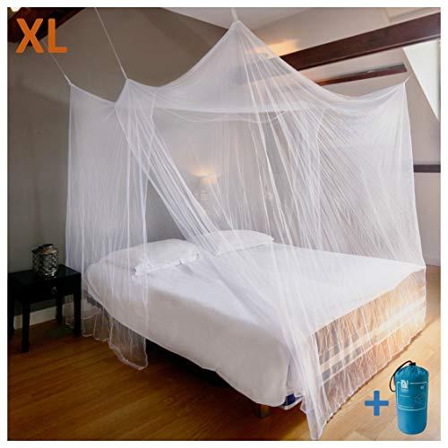 EVEN NATURALS MOSKITONETZ Doppelbett, XL Mückennetz für Bett, feinste Löcher, rechteckiger Netzvorhang Reise, Insektenschutz, 2 Einträge, einfache Anbringung, Tragetasche, Keine Chemikalien
