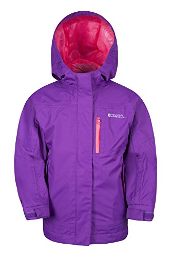 Mountain Warehouse Luna Kids Waterproof Jacket - Lightweight Childrens Jacket, Taped Seams Rain Coat, Zipped Pockets, Adjustable Cuffs Summer Rain Coat - for Travelling