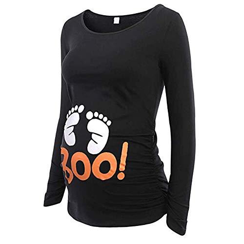 FIRSS Damen Umstandsshirt,Drucken Side Geraffte Schwangerschaft Langarm Mutterschaft Pullover Maternity Umstandskleidung ()