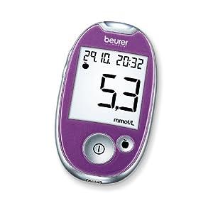 Beurer GL 44 Blutzuckermessgerät mmol/l (Sichere Blutzuckermessung durch breiten Teststreifen und Blutmengenkontrolle, kompatibel mit HealthManager Software bzw. App)