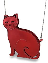 Metallic Vinyl Cat Shaped Purse w/Removable Byzantine Chain Strap