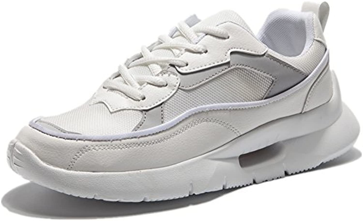 Toptak Herren Wildleder Low Top Laufschuhe Athletic Walking Fitness Schuhe Weiß