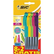 BIC M10 Clic Ball Pens - Assorted Colours (Pack of 10)