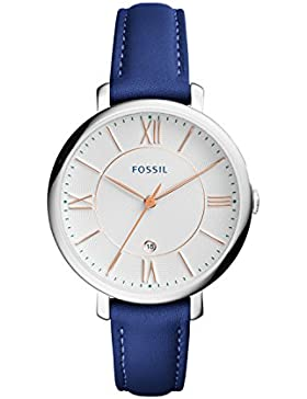 Fossil ES3986 JACQUELINE Uhr Damenuhr Lederarmband Edelstahl 30m Analog Datum blau