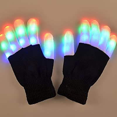 SOLMORE LED Light Gloves Rave Flashing Glow Light Up Full Finger Fingertips Lighting Gloves Party Game Favor Colorful Party Dance Birthday Disco Clubs Festivals Christmas Running Cycling Sports Cool Cotton Mode - low-cost UK light shop.