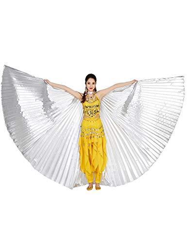besbomig Damen Bauchtanz Tanz Schleier Flügel Einschließlich Teleskopisch Stöcke/Ruten - 360 Degree Ägypten Indian Tanzen Kostüm Flügel Darstellende - Tanz Flügel Kostüm