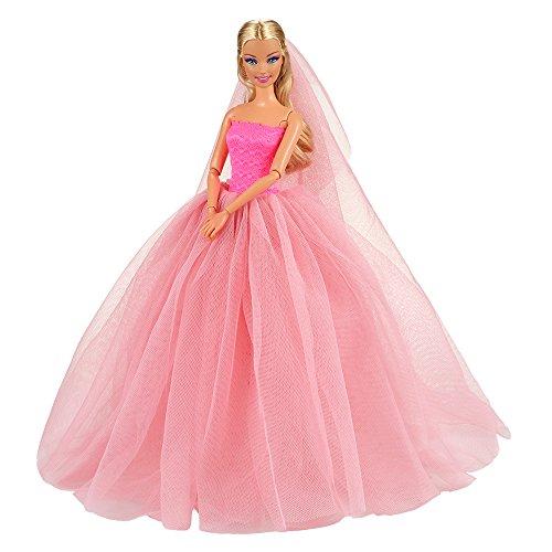 Miunana abito vestito da sposa per bambola barbie dolls (rosa)