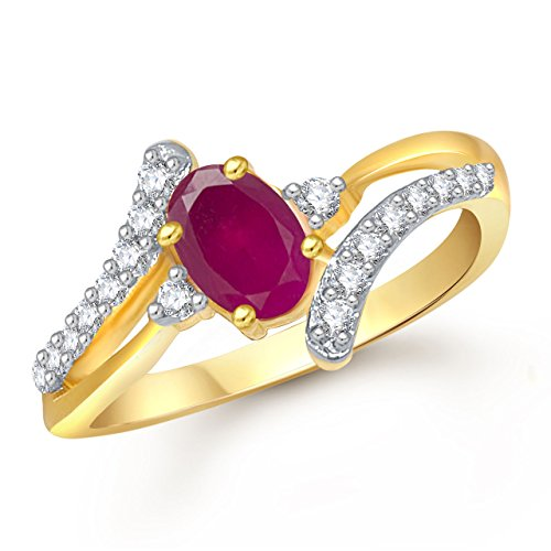 Meenaz Ruby 24K Gold In American Diamond Cubic Zirconia Ring For Girls