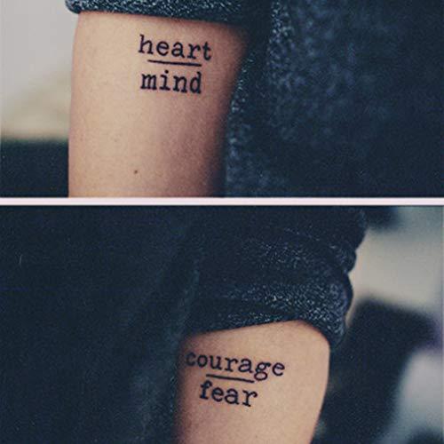 GHHCG 1 Stück Mode Herz/Verstand & Mut Buchstaben Tattoos wasserdichte Aufkleber Temporäre Tätowierung Körperdekoration