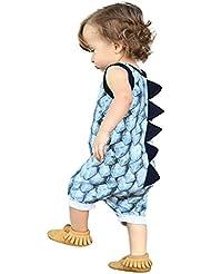 Kukul 0-2 Años Dinosaurio Romper Mono de Bebé de Algodon sin Mangas, Conjuntos de Ropa de Animales Pijama de Cuello Redondo de Moda Invierno Primavera de Bebé Niñas Niños Azul