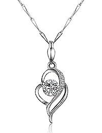 925sterling Silver CZ pietra cuore pendente collana