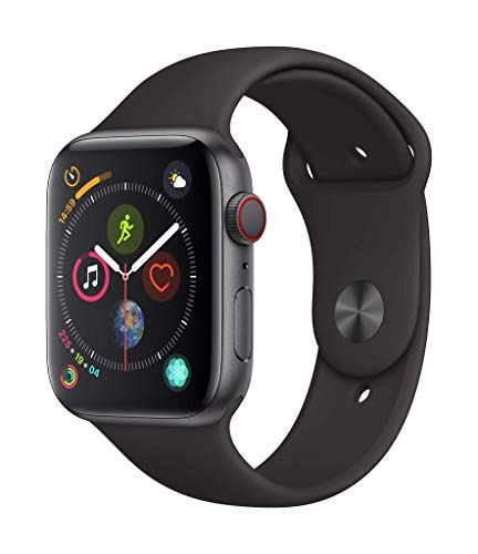 Apple Watch Series 4 (GPS + Cellular), 44 mm Aluminiumgehäuse, Space Grau, mit Sportarmband, Schwarz Aluminium-gps