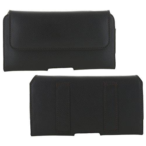 XiRRiX Echt Leder Quer Handy Gürteltasche 2.2 - Tasche 3XL passend für Huawei P Smart / P30 - Samsung Galaxy A5 J3 J5 2017 / A40 - schwarz
