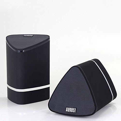 August MS625 - Tragbares Bluetooth Stereo Lautsprecher Paar - 2x5W schnurlose Lautsprecher für Handys, Smartphones, Tablets, TVs, PCs und MP3 Player - Eingebauter wiederaufladbarer Akku - Kompatibel mit Apple, Android, Blackberry, Windows, Mac OS und Linux (Schwarz)