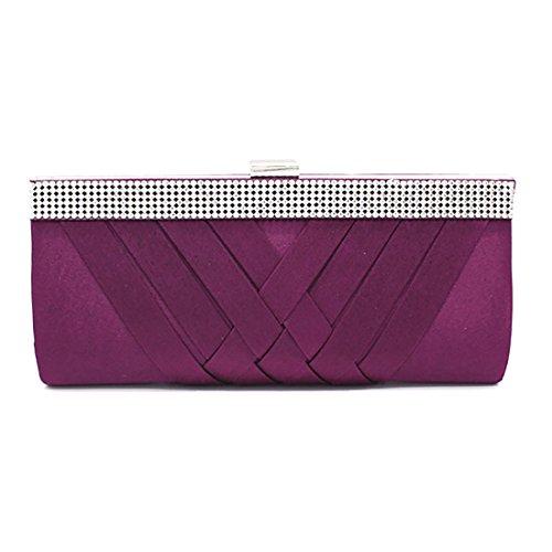 YYW Crystal Clutch Bag, Poschette giorno donna Purple