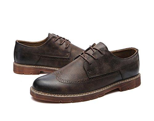 Cuir Hommes Printemps Automne Noir Marron Gris Mode Confortable Basse Top Casual Derby Oxford Mocassins En Dentelle Martin Chaussures Rétro Chaussures brown