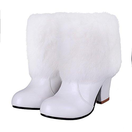 AllhqFashion Damen Rund Zehe Hoher Absatz Blend-Materialien Niedrig-Spitze Rein Stiefel Weiß