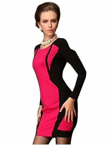 PU&PU Robe Aux femmes Moulante Simple,Couleur Pleine Col Arrondi Au dessus du genou Polyester RED-L