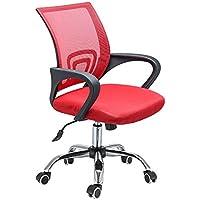 PanaCasa - Silla de Malla Transpirable Giratorio de 360 Grados para Escritorio Oficina Dormitorio Rojo