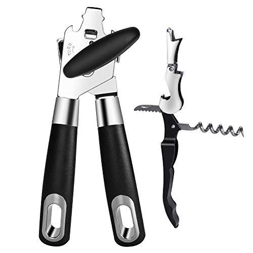Ninonly apriscatole a mano heavy duty 3-in-1 apribottiglie in acciaio inox con manico ergonomico antiscivolo sicuro perfetto per utensili da cucina