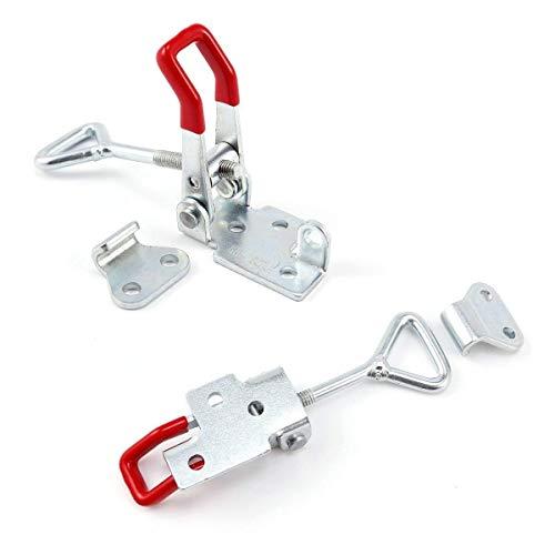 2Pcs Metall Hebel Verschluss Spannverschluss Kistenverschluss Kappenschloss4002 184KG / 404lbs Halten Kapazität Latch Button Toggle Latch (Haken-verriegelung)