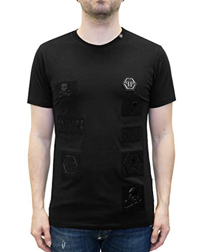 Philipp plein - wayne - t-shirt with velcro logo patches (m)