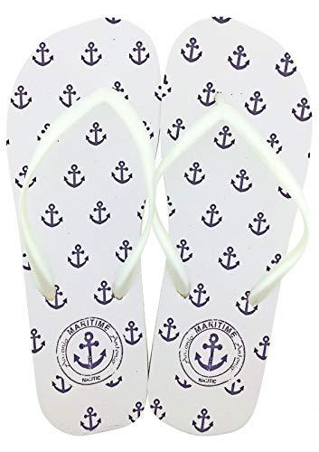 Lady Beach Slipper Anker Maritime Zehentrenner, Badelatschen, Damen-Strandschuhe, Weiß, 36/37 EU - Damen Anker