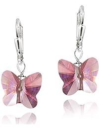 Boucles d'oreilles dormeuses en argent sterling et papillon rose, ornées d'éléments swarovski
