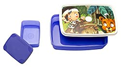 Signoraware Little Stars Easy Plastic Lunch Box Set, Violet