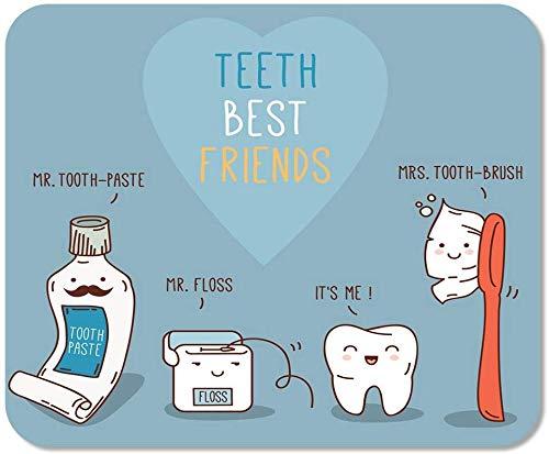 rutschfeste Mousepad Mauspad Computer Office Zähne Best Friends Zahnpasta Zahnbürste Und Zahnseide Dental Für Kinder Zahnmedizin Schule Game Player Computer Worker,25X30 cm