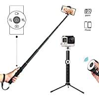 Selfie Stick Tripod with Remote,Hizek Wireless Shutter Remote Extendable Monopod Wireless 3.0 Aluminum Alloy 270°Rotation Phone Holder for iPhone, Android Smartphones, and More