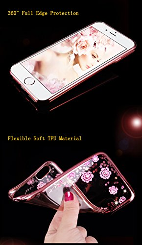 Custodia in Molle Rubber per Apple iPhone 7 4.7(NON iPhone 7Plus 5.5), CLTPY Particolari Speciale Plating Frontiera Chiaro Caso Morbido con Shiny Flash Rhinestone Design, Ultra Fine Elegante di Luss Fiori Bianchi