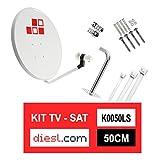 Diesl.com - Kit Parabólica 50cm + LNB + Soporte + Tacos a pared + Conectores + 10x Bridas