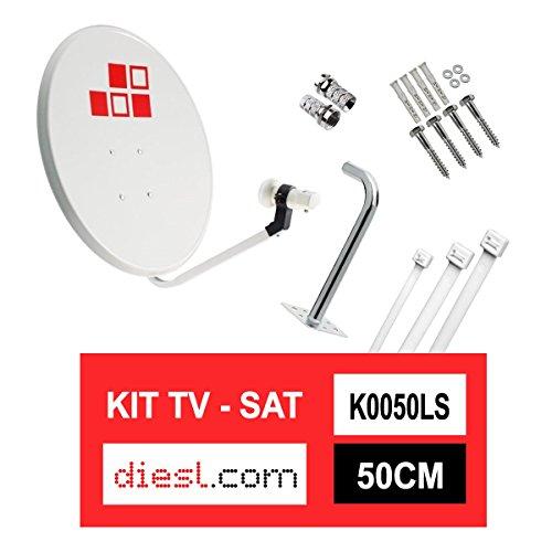 Diesl.com - Kit parabolico da 50cm + LNB + Supporto antenna + Borchie a muro + 2x F Connecttori + 10x Flange