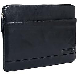 STILORD 'Robb' Funda de Piel Estilo Vintage para Tablet o MacBook de 14' y portátil de 13,3' Portafolio Bolso o Bolsa Protectora de auténtico Cuero, Color:Negro