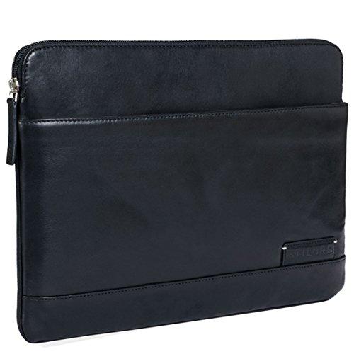 STILORD 'Robb' Vintage Leder Laptoptasche für 13,3 Zoll MacBooks MacBooktasche Universal Tablettasche bis 14 Zoll DIN A4 echtes Rindsleder, Farbe:schwarz -