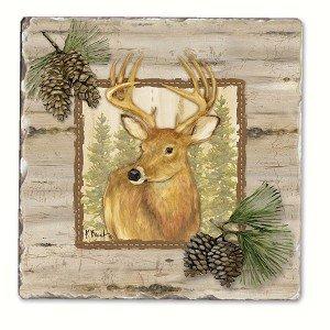 Forest Trails Deer Single Tumbled Tile Coaster