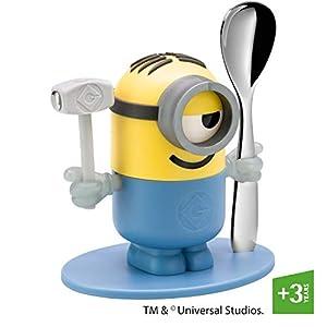 WMF Minions Eierbecher, mit Löffel, Kunststoff, Cromargan Edelstahl poliert, spülmaschinengeeignet, gelb, blau