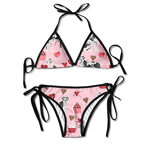 d1e7ffb025 MSGDF Womens Sexy Bikini Sets Bathing Swimsuits Tie Back Great Dane  Valentines Flower Print Black