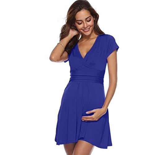 Trada Umstandskleid, Frauen Schwangerschaft V Ausschnitt Kurzarm Kleid Mutterschaft Sommer Solid Color Kurzarm-Kleid Reine Farbe Kleid Umstands Kleid Umstandsmode mit Stillöffnungen (S, Blau) - Licht Blau Frauen Maxi-kleider Für