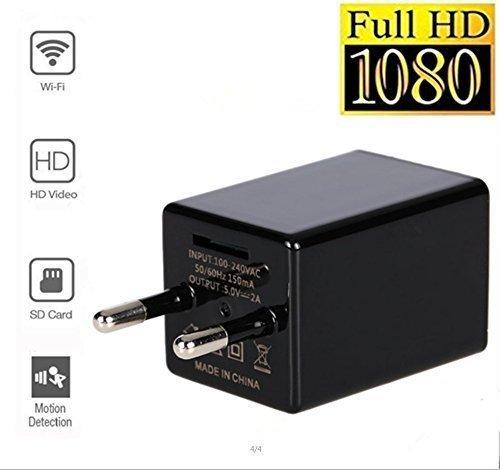 TenSky HD 1080P Wifi Mini Charger Ladegerät Kamera Adapter Wand AC Stecker Ladegerät P2P Pinhole Video Recorder Indoor Nanny Cam Bewegungsmelder Unterstützung IOS Android (Wifi-cam)