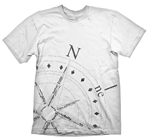 Gaya Entertainment Uncharted 4 T-Shirt Compass, Weiß, S